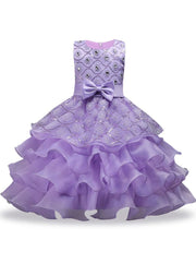 Girls Sequin Floral Tiered Ruffled Bow Flower Girl & Special Occassion Party Dress - Lavender / 3T - Girls Spring Dressy Dress