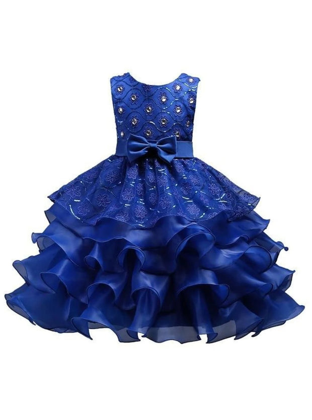 Girls Sequin Floral Tiered Ruffled Bow Flower Girl & Special Occassion Party Dress - Navy / 3T - Girls Spring Dressy Dress