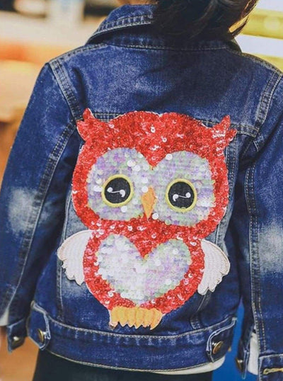 Girls Sequin Owl Applique Denim Jacket - Girls Jacket