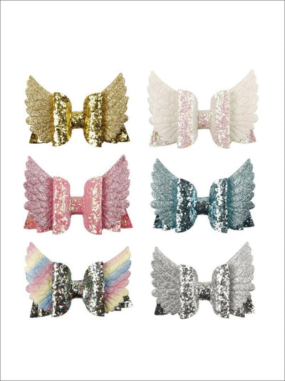 Girls Sequin Princess Angel Wing Hair Bow - Hair Accessories