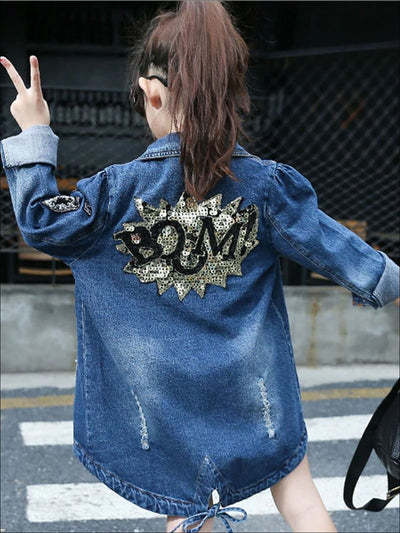 Girls Sequined Boom Hi-Low Hem Denim Jacket - Blue / 3T - Girls Jacket