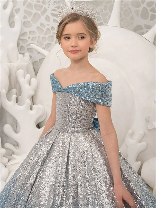 Girls Sequined Cinderella Ball Gown - Girls Gowns