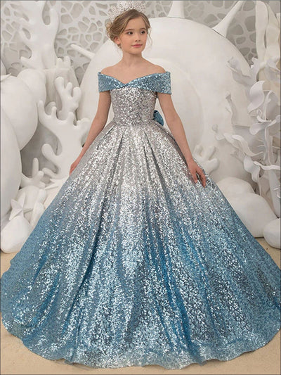 Girls Sequined Cinderella Ball Gown - Silver / 2T - Girls Gowns