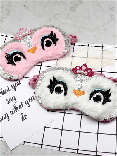Girls Sequined Plush Owl With Crown Eye Mask - Girls Accessories