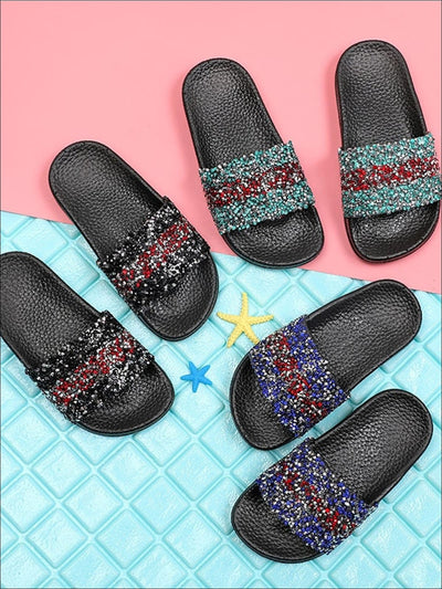 Girls Sequined Sparkling Flip Flops - Girls Slides