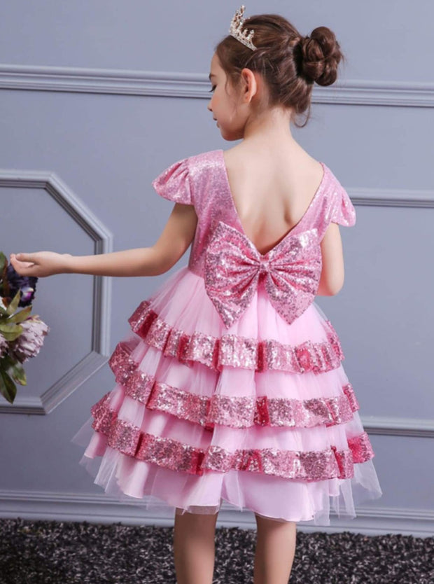 Girls Sequined Tiered Ruffle Holiday Special Occasion Dress - Girls Fall Dressy Dress