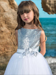 Girls Sequined Tulle Communion Gown - Girls Spring Dressy Dress