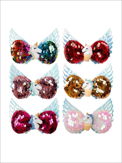 Girls Sequined Unicorn Wing Hair Clips - Hair Accessories