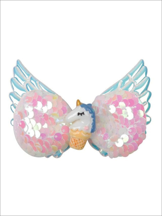 Girls Sequined Unicorn Wing Hair Clips - Rose - Hair Accessories