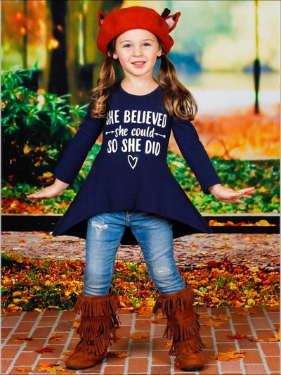 Girls She Believed She Could So She Did Hi-Lo Long Sleeve Graphic Statement Top - Girls Fall Top