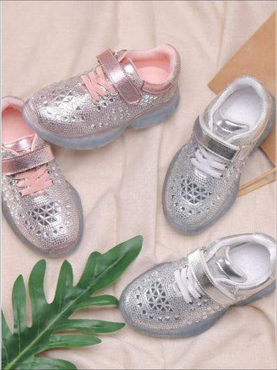 Girls Shimmer Rhinestone Embellished Sneakers - Girls Sneakers