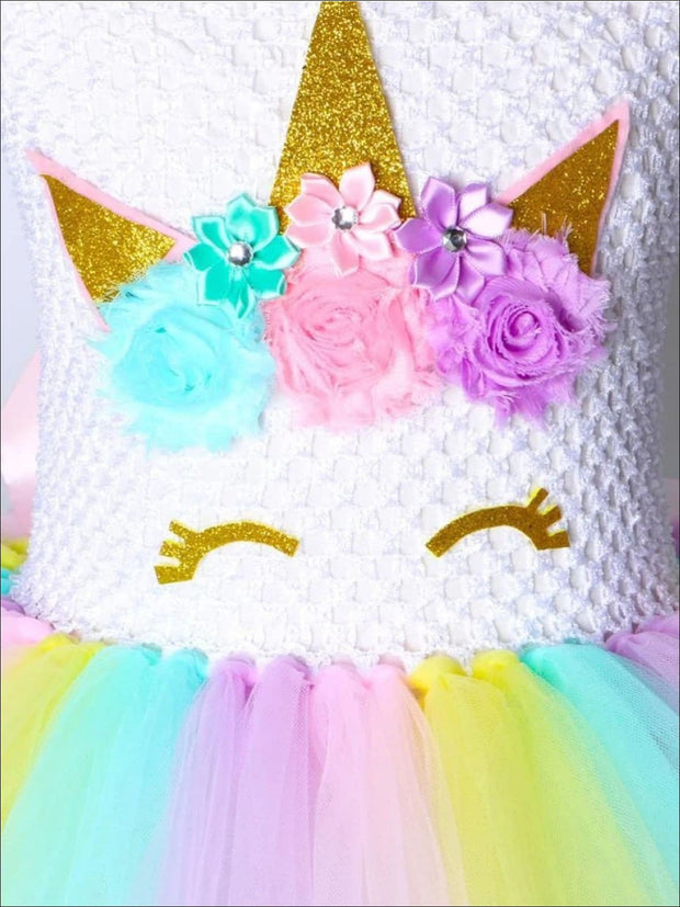 Girls Shimmering Rainbow Unicorn Tutu Dress - Girls Spring Dressy Dress