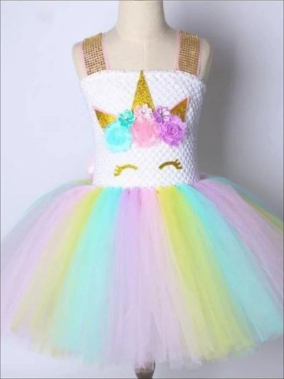 Girls Shimmering Rainbow Unicorn Tutu Dress - Multicolor / 2T - Girls Spring Dressy Dress