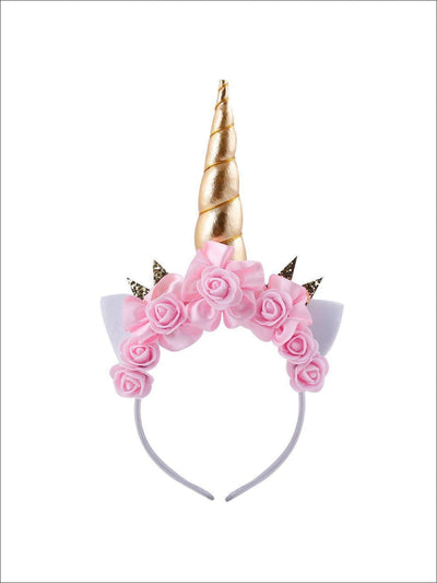 Girls Shimmering Unicorn Horn Headband - Pink/Gold - Girls Unicorn Headband