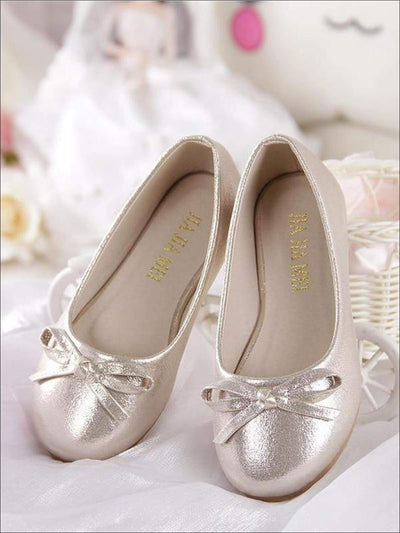 Girls Shimmery Ballerina Bow Tie Flats - Light Gold / 1 - Girls Flats