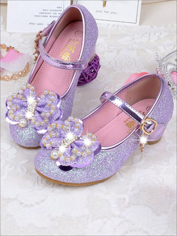 Girls Shimmery Pearl Butterfly Princess Heels - Purple / 1 - Girls Flats