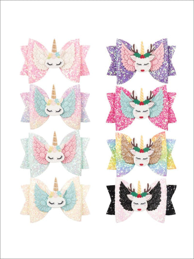 Girls Shiny Glitter Elk Unicorn Hair Bow - Hair Accessories