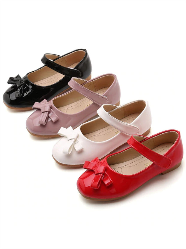 Girls Shiny Leather Flats with Bow - Girls Flats
