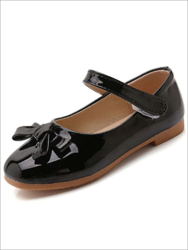 Girls Shiny Leather Flats with Bow - Black / 1 - Girls Flats