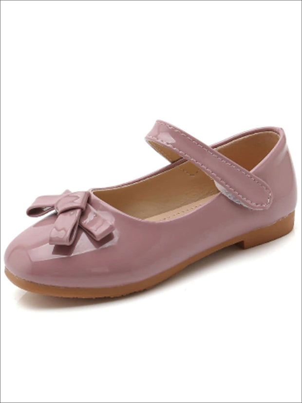 Girls Shiny Leather Flats with Bow - Pink / 1 - Girls Flats