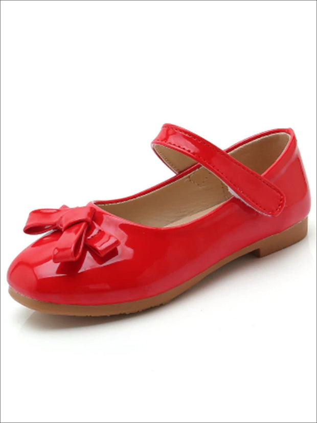 Girls Shiny Leather Flats with Bow - Red / 1 - Girls Flats
