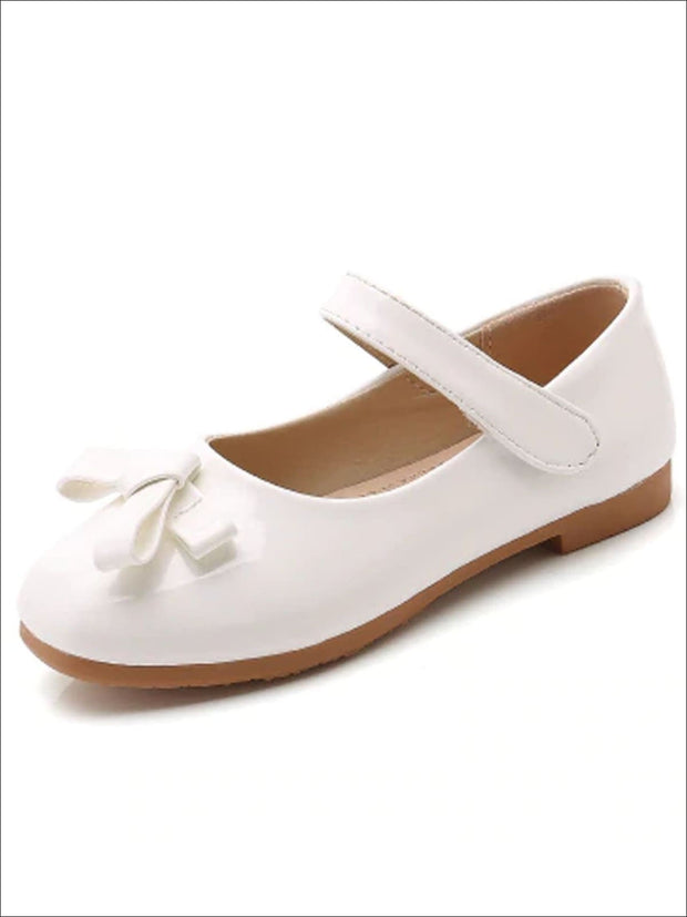 Girls Shiny Leather Flats with Bow - White / 1 - Girls Flats