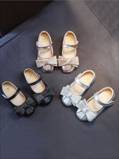 Girls Shiny Leather Flats with Glitter Bow - Girls Flats