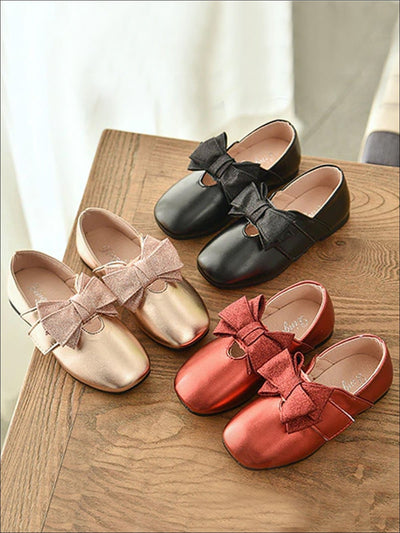 Girls Shiny Leather Loafers with Glitter Double Bow - Girls Loafers