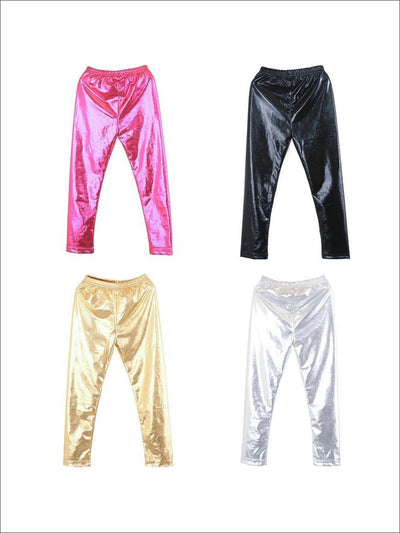 Girls Shiny Metallic Leggings ( 4 Color Options) - Girls Leggings