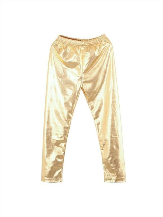 Girls Shiny Metallic Leggings ( 4 Color Options) - Gold / 4 - Girls Leggings