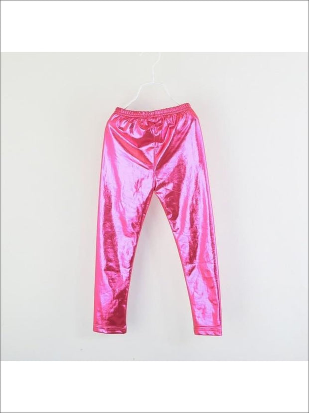 Girls Shiny Metallic Leggings ( 4 Color Options) - Rose Red / 4 - Girls Leggings