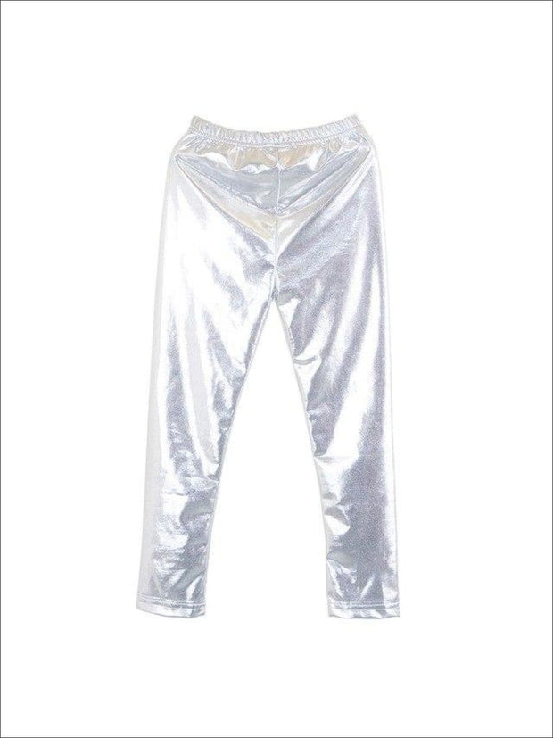 Girls Shiny Metallic Leggings ( 4 Color Options) - Silver / 4 - Girls Leggings