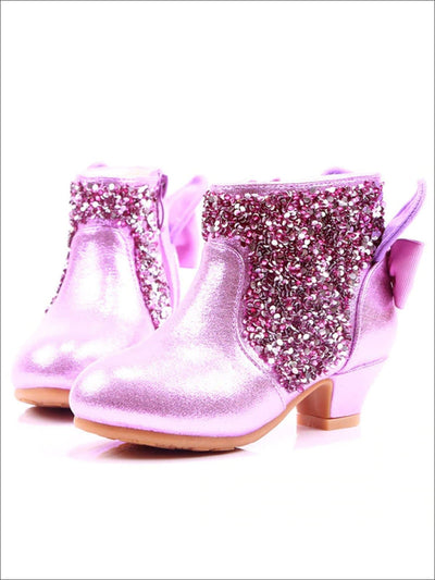 Girls Shiny Sequin Ankle Boots with Bow - Purple / 9 - Girls Boots