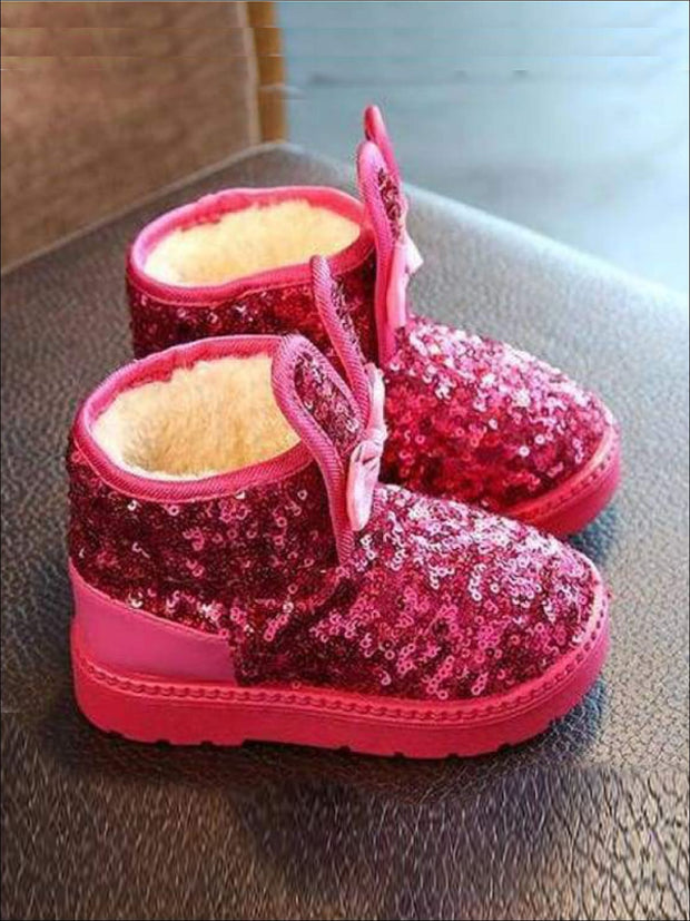 Girls Shiny Sequin Bunny Ear Bow Tie Ankle Boots - Girls Boots