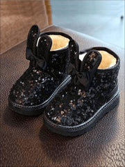 Girls Shiny Sequin Bunny Ear Bow Tie Ankle Boots - Black / 7 - Girls Boots
