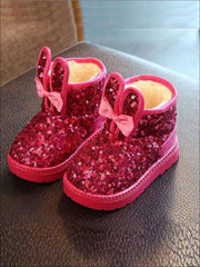 Girls Shiny Sequin Bunny Ear Bow Tie Ankle Boots - Hot Pink / 7 - Girls Boots