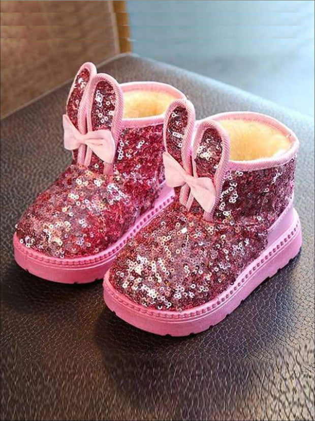 Girls Shiny Sequin Bunny Ear Bow Tie Ankle Boots - Pink / 7 - Girls Boots