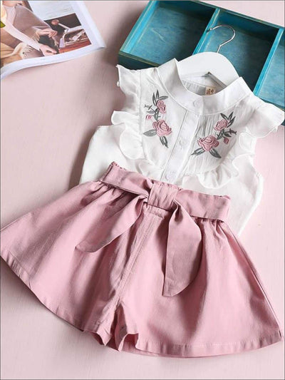 Girls Short Sleeve Floral Embroidered Top & Bow Tie Short Set - Girls Spring Casual Set