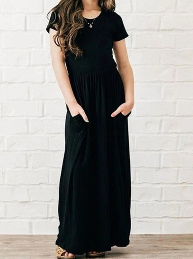 Girls Short Sleeve Maxi Dress With Front Pockets - Black / 2T - Girls Spring Casual Dress