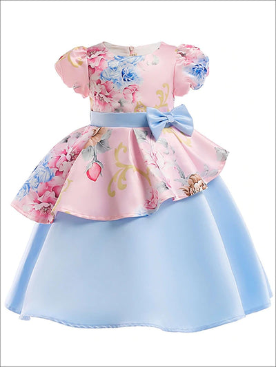 Girls Short Sleeve Satin Front & Back Bow Special Occasion Dress (2 Style Options) - Pink Floral / 2T - Girls Spring Dressy Dress