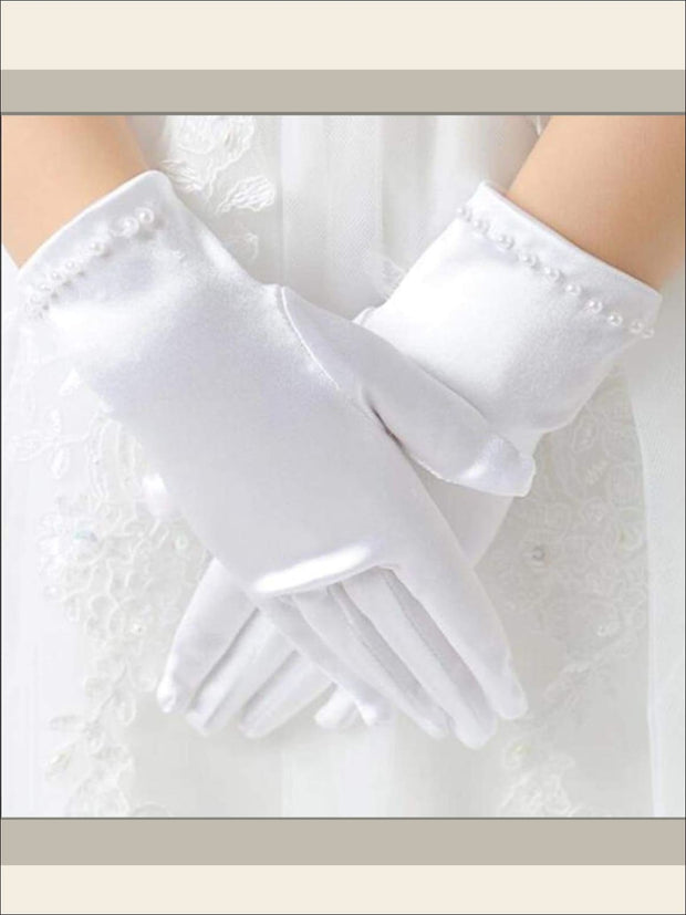 Girls Short White Pearl Gloves - Girls Gloves