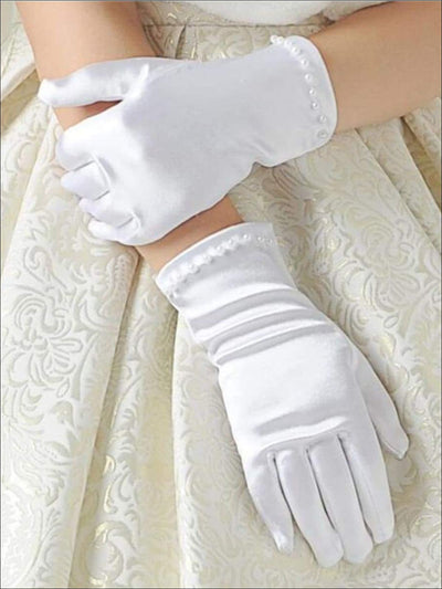 Girls Short White Pearl Gloves - M / One Size / White - Girls Gloves