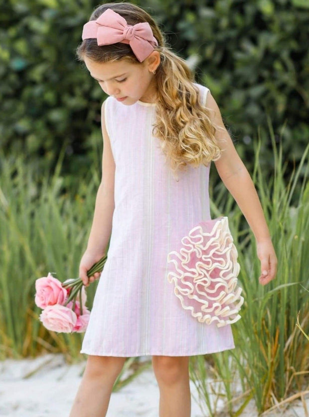Girls Side Ruffled Flower Dress - Girls Spring Casual Dress
