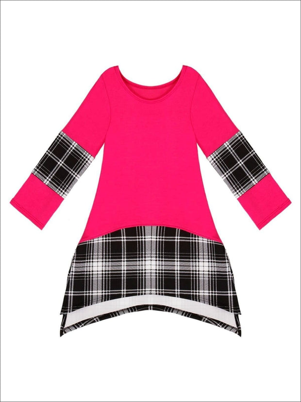 Girls Side-Slit Tunic with Plaid Contrast Band - Girls Fall Top