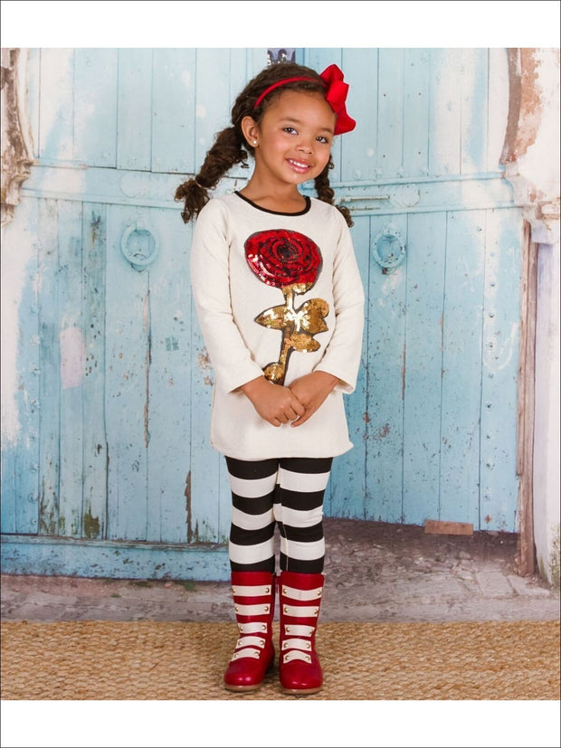 Girls Side Slit Tunic with Striped Leggings - Fall Low Stock