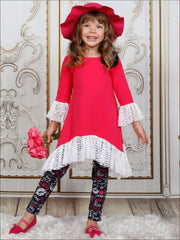 Girls Side Tail Lace Ruffled Tunic & Leggings Set - Girls Fall Casual Set