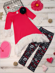 Girls Side Tail Lace Ruffled Tunic & Leggings Set - Fuchsia / 2T/3T - Girls Fall Casual Set
