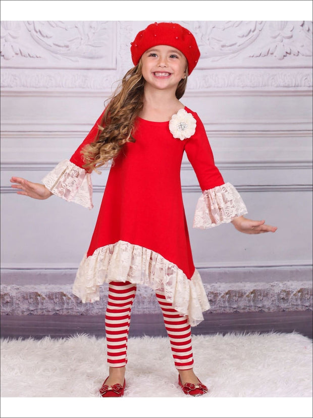 Girls Sidetail Red/Creme Ruffled Lace Sleeve Tunic & Printed Leggings Set - Fall Low Stock