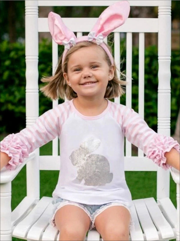 Girls Silver Bunny Printed 3/4 Ruffled Sleeve Top  - Pink/White / 2T - Girls Spring Top
