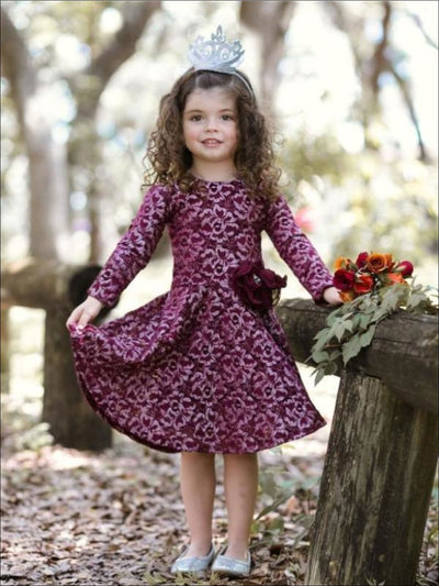 Girls Silver Burgundy Lace Dress with Ornate Bow & Pearls Attachment - Fall Low Stock
